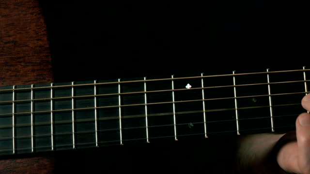 Guitarist hand touching strings. Music performance. FullHD close up dolly video video