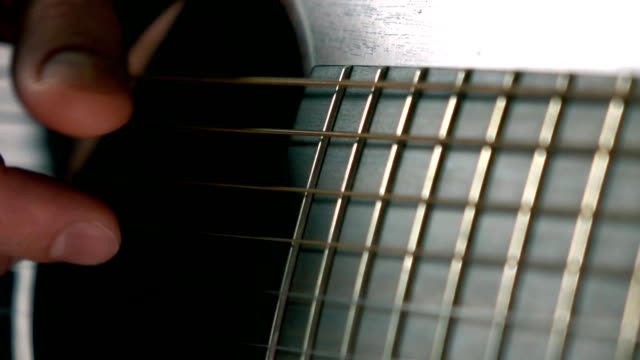Guitarist touching guitar strings. Music performance. Super slow motion macro video video