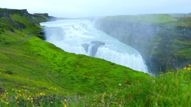 Gullfoss Waterfall in Iceland, slow motion video