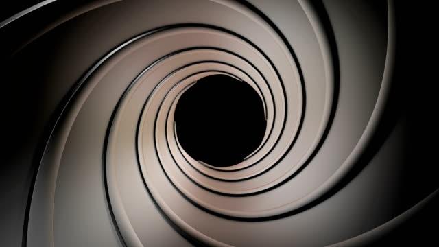 vídeos de stock e filmes b-roll de gun barrel rotate - barrica