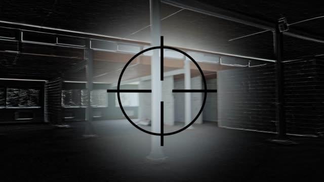 vídeos y material grabado en eventos de stock de mira de arma. pov. el héroe de un juego de ordenador está buscando un objetivo en un edificio inacabado - armamento