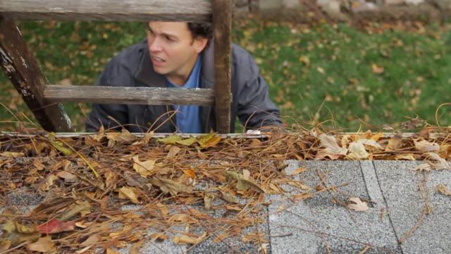 stockvideo's en b-roll-footage met gutter cleaning walk up ladder - ladder