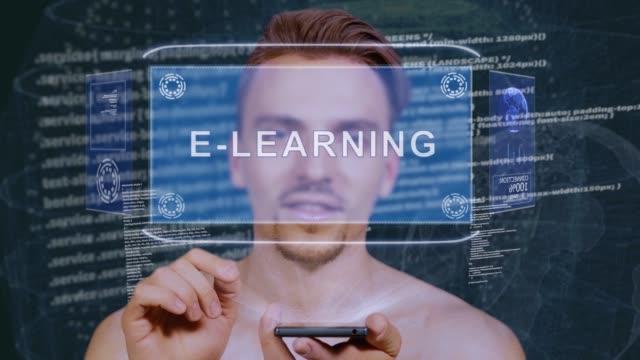 vidéos et rushes de guy interagit hud hologramme e-learning - étudiant(e)