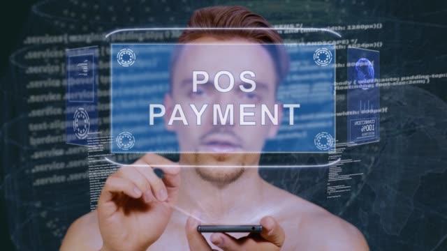 vídeos de stock, filmes e b-roll de guy interage hud holograma pos pagamento - manipulação digital