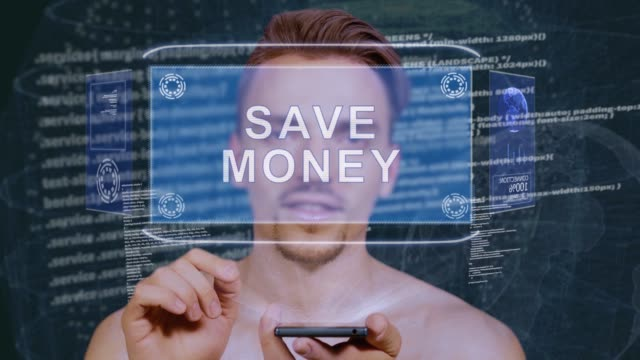 Guy interacts HUD hologram Save money