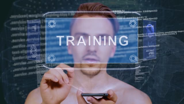 Guy interacts HUD hologram Training