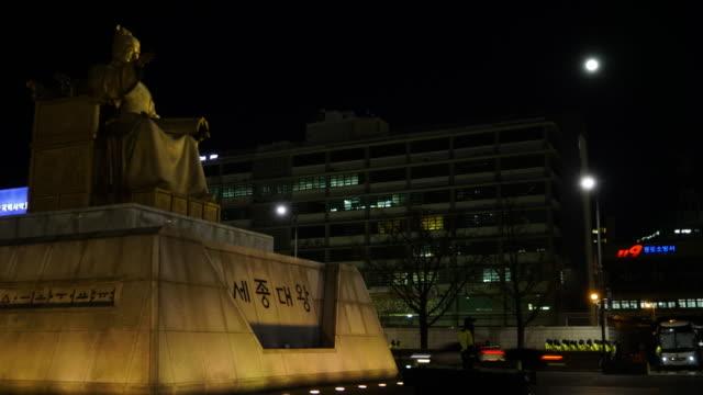Gwanghwamun Plaza Korea King Seoul Night Time Laps Great Lighting 4k UHD video