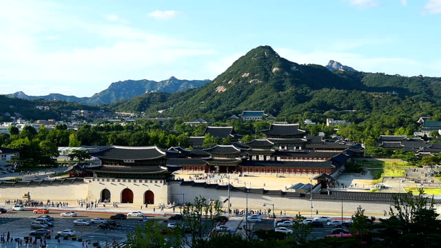 Gyeongbokgung palace and traffic speeds of car light in Seoul,South Korea. Gyeongbokgung palace and traffic speeds of car light in Seoul,South Korea. gyeongbokgung stock videos & royalty-free footage