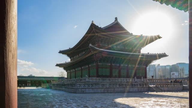 vídeos y material grabado en eventos de stock de palacio de gyeongbokgung en seúl, corea del sur time lapse - n seoul tower