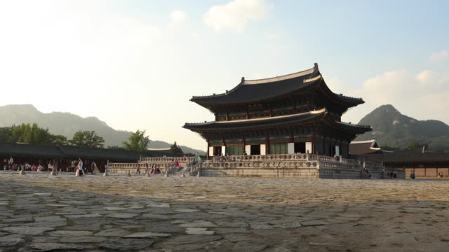 Gyeongbokgung Palace in Seoul,South Korea Gyeongbokgung Palace in Seoul,South Korea gwanghwamun gate stock videos & royalty-free footage
