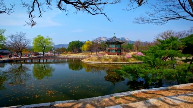 Gyeongbokgung Palace, Seoul Hyangwonjeong Pavilion in Gyeongbokgung Palace, Seoul gyeongbokgung stock videos & royalty-free footage