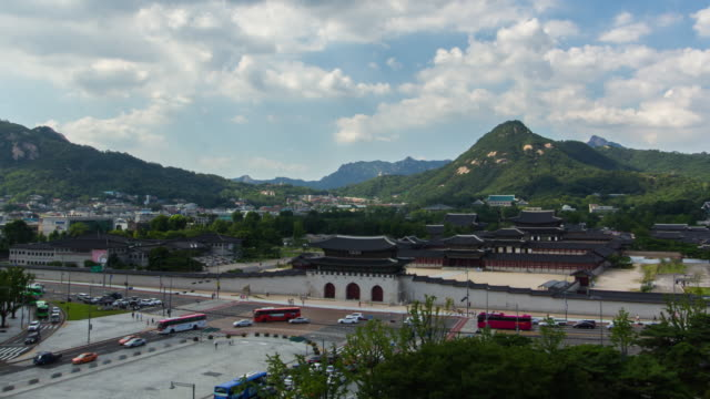 Gyeongbokgung Royal Palace View of Geunjeongjeon Throne Hall of Gyeongbokgung Royal Palace gyeongbokgung stock videos & royalty-free footage