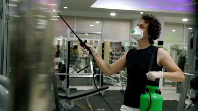 Gym cleaning and disinfection. Infection prevention and control of epidemic. video