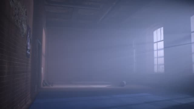 gym in the basement. Interior of a boxing hall in loft style. Empty wrestling room. Grunge gym Interior with Equipment. Interior of a fitness hall with punching bags gym in the basement. Interior of a boxing hall in loft style. Empty wrestling room. Grunge gym Interior with Equipment. Interior of a fitness hall with punching bags HD domestic room stock videos & royalty-free footage