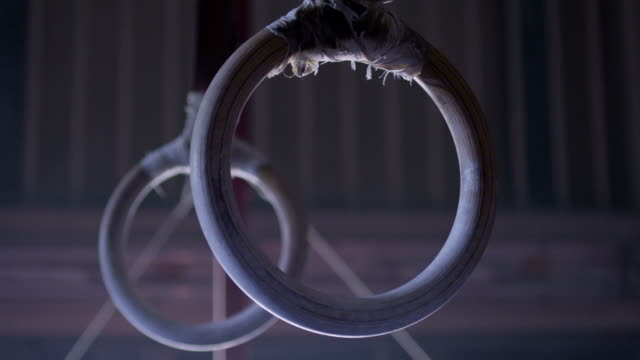 Gymnastic Rings Hanging. Shot on RED EPIC Cinema Camera in slow motion. video