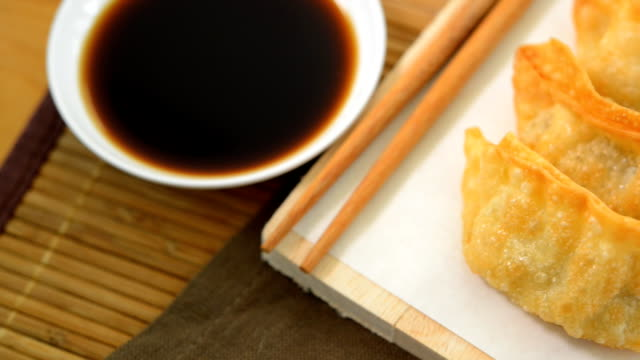 Gyoza fried Japanese Food,popular in Japan and Asia. video