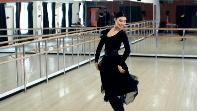 Gypsy Dancing Hispanic woman dancing in the ballroom stamping feet stock videos & royalty-free footage