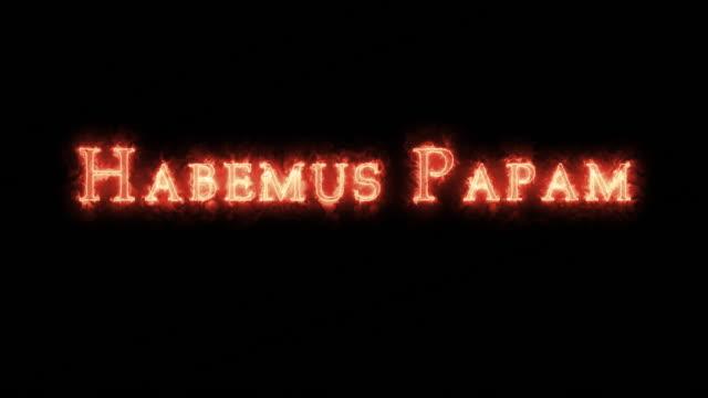 habemus papam skriven med eld. loop - påve bildbanksvideor och videomaterial från bakom kulisserna