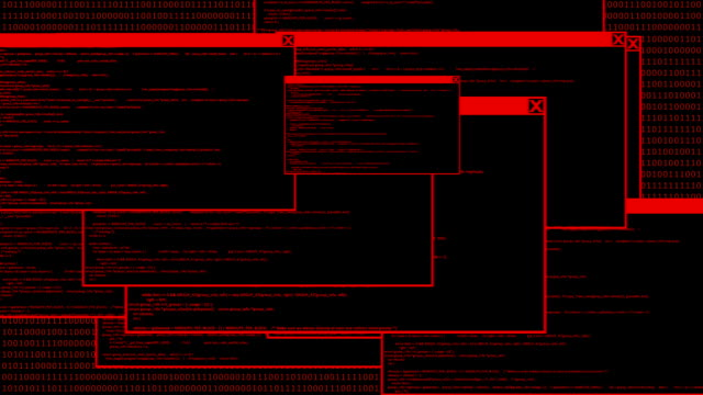 Hacked computer code animation