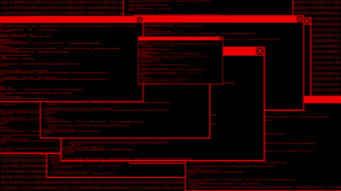 Hacked computer code animation Animation of computer monitor screen showing windows code and text alert sign warning and blinking that the system had been hacked or infected by network virus. alertness stock videos & royalty-free footage