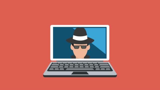 vídeos de stock e filmes b-roll de hacker and security system hd animation - proteção