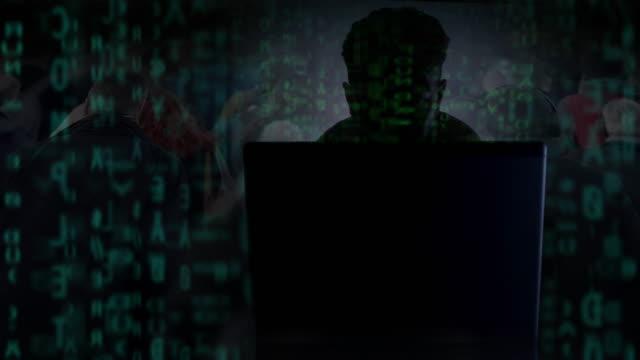 ハッカー、コード、被害者モンタージュ。サイバー犯罪。 - なりすまし犯罪点の映像素材/bロール