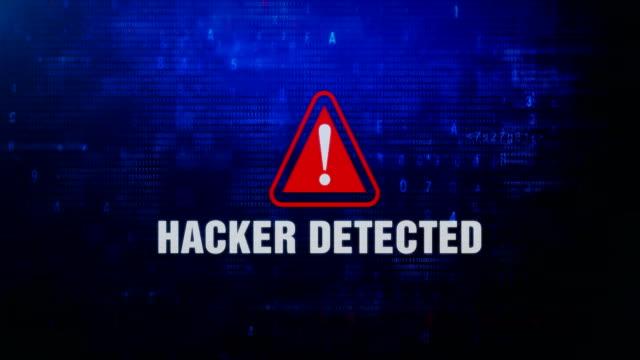 Hacker Detected Alert Warning Error Message Blinking on Screen .