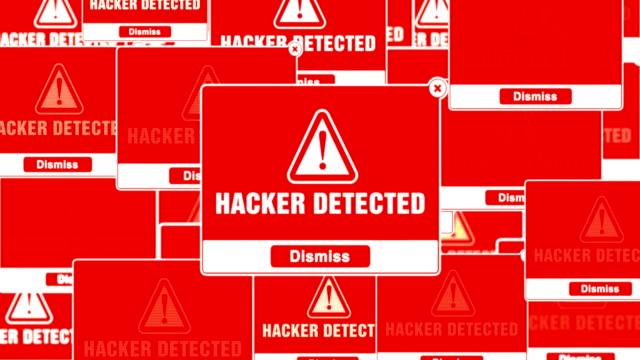 Hacker Detected Alert Warning Error Pop-up Notification Box On Screen.