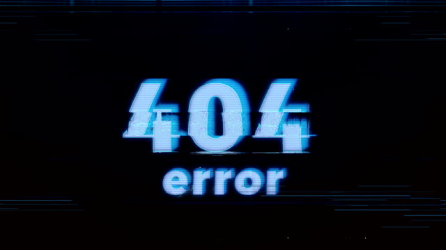 hacker element and pixel noise glitch with the 404 error - errore video stock e b–roll