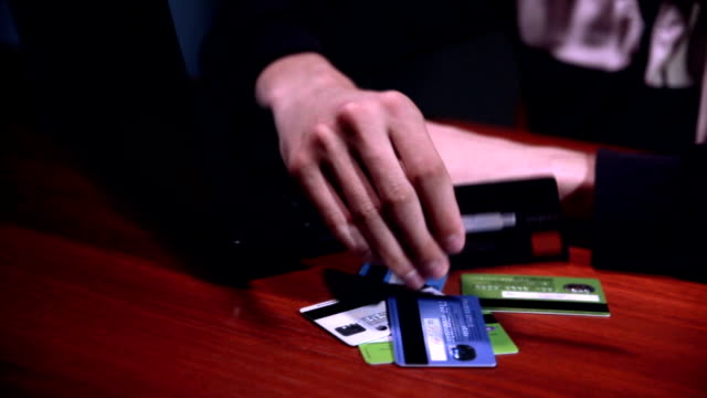 hacker steals money from credit cards. payment security concept - credit and credit cards stock videos & royalty-free footage