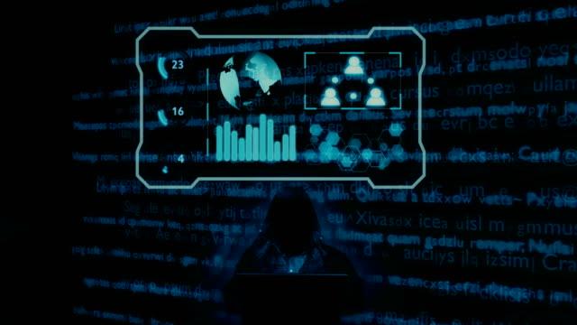 Hacker trabajando en notebook - vídeo