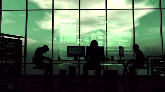 vídeos de stock e filmes b-roll de hackers at work on the green background - vírus informático