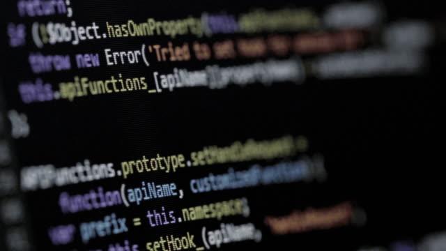 Hackers program code, running on screen.