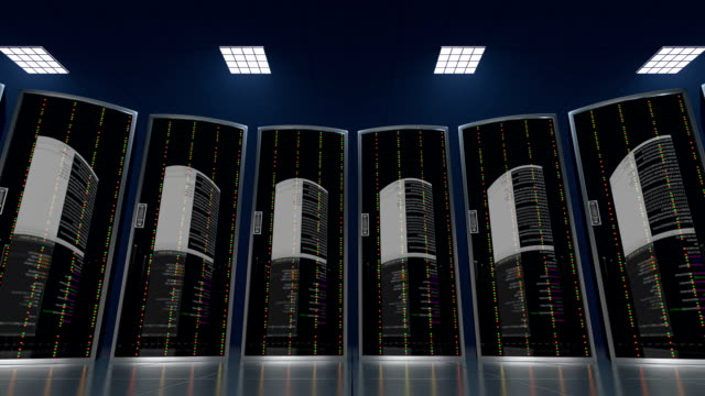 Hacking a cloud server datastore seamless loop 3d animation of a process of hacking cloud server datastore in a dark server room in a world wide hosting provider. All data which is stored in cloud datacenter encrypts and deletes, seamless loop backup stock videos & royalty-free footage