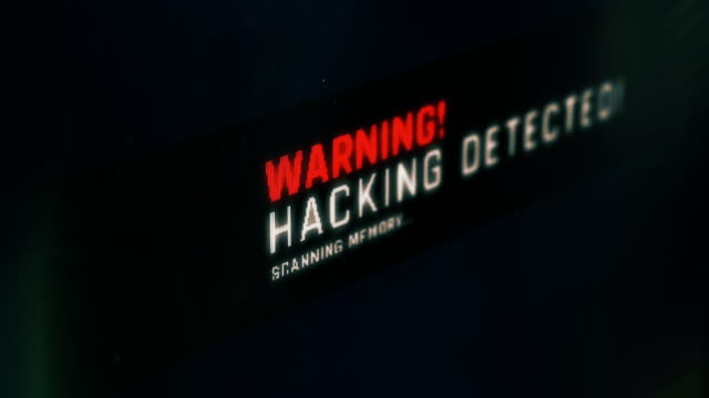 Hacking detected message on screen, vulnerability found, system breach, warning