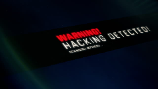 Hacking detected screen text, system notification, warning. System breach