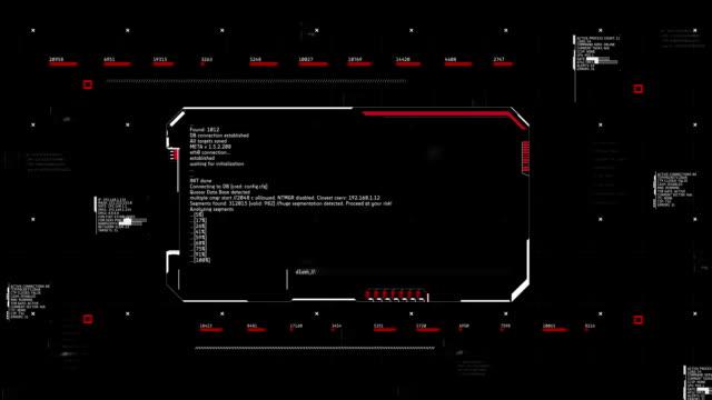 Hacking proceso en pantalla de ordenador, hacker robar los datos. Línea el fraude, software espía - vídeo