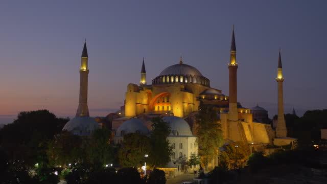 Hagia Sophia at sunset light, Istanbul, Turkey. Establishing shot