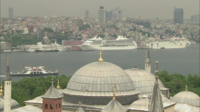 Hagia Sophia (Ayasofya) domes view from air in Istanbul, Turkey video