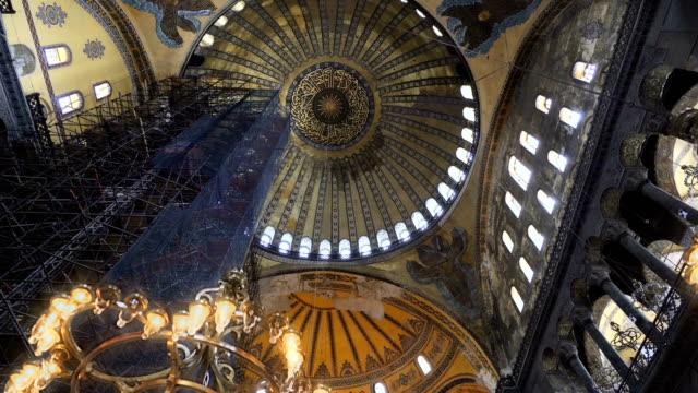 Hagia Sophia (Hagia Sofia, Ayasofya) interior in Istanbul, Turkey, Byzantine architecture, city landmark and architectural world wonder