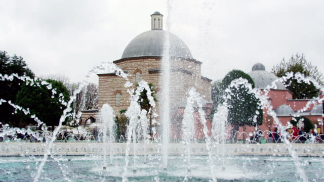 Hagia Sophia view with water fountain in Sultanahmet square, Istanbul, Turkey video