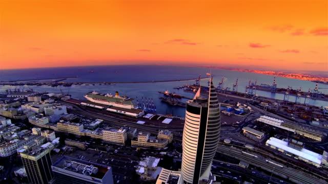 Haifa city port  Aerial view video