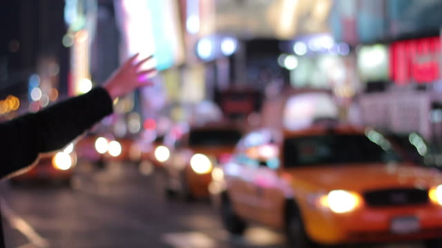 Hailing a Yellow Cab - Times Square