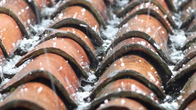 hailstone fall on roof tiles in slow motion - grandine video stock e b–roll