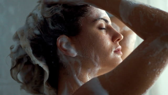 Hair and body wash in slow motion. video