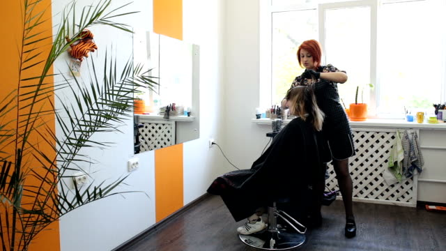 Hair coloring. Hairdresser is coloring long hair with hair dye. Hair coloring. Hairdresser is coloring long hair with hair dye. Small business in Ukraine. Hairdresser works alone in his hairdresser salon. highlights hair stock videos & royalty-free footage