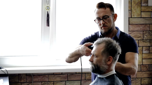 Hairdresser cuts client's hair Hairdresser cuts client's hair in the Barber shop beautician stock videos & royalty-free footage