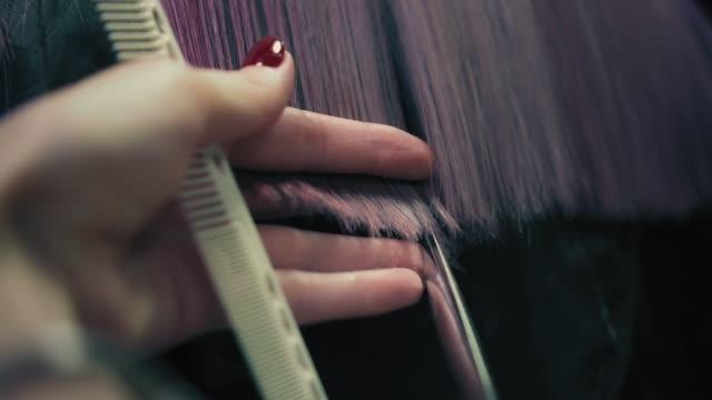 Friseur schneidet die Enden der langen rosa Frau Haare im Friseursalon. Nahaufnahme, langsame mo – Video