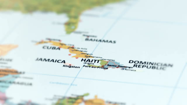 north america haiti on world map - sud est video stock e b–roll