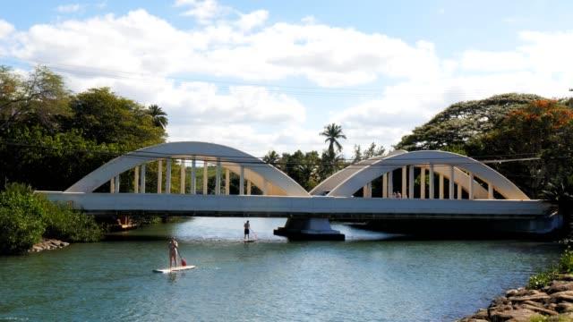 haleiwa bridge hawaii-1 4k - cespuglio tropicale video stock e b–roll